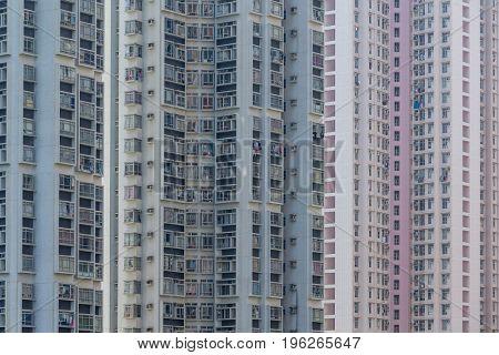 Facade of building in hong Kong city