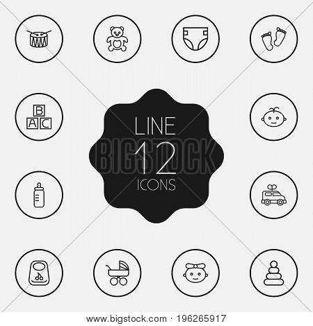 Set Of 12 Kid Outline Icons Set