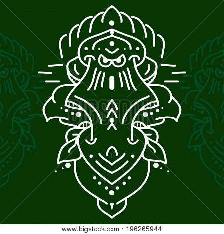 Ceremony mask isolated on green background. Vector illustration