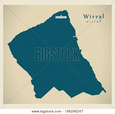 Modern Map - Wirral District Of Merseyside Uk England