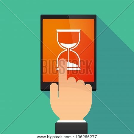 Long Shadow Tablet Pc With A Sand Clock