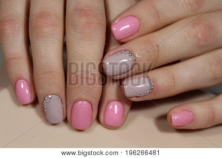 Beautiful Light Pink Nails With Rhinestones, Manicure Design