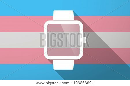 Long Shadow  Trans Gender Flag With A Smart Watch
