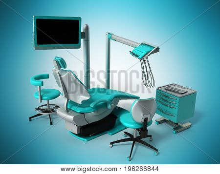 Dental Chair With Blue Bedside Tables 3D Render On Blue Background