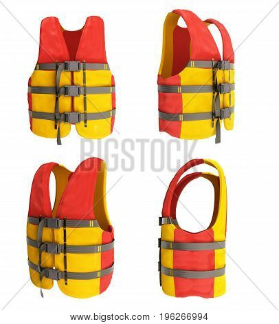 Collection Life Vest Red Yellow 3D Render On White Background