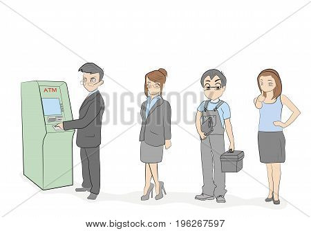 People are waiting in line for an ATM. vector illustration.
