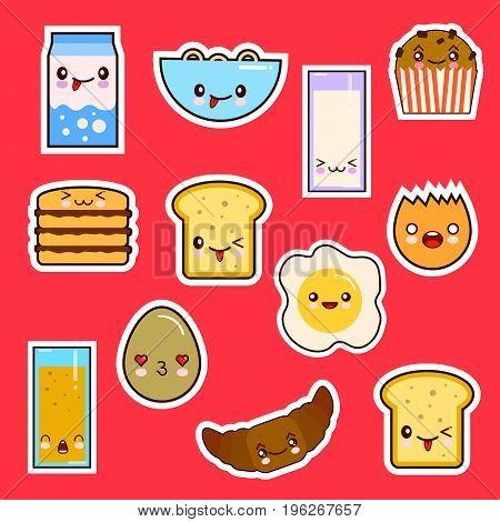 Kawaii Breakfast Food Set Cute faces emotion. Vector illustration