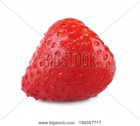A macro picture of a perfect colorful strawberry isolated over the white background. A close-up tasteful and rustic red strawberry with little seeds. Edible summer decorations.