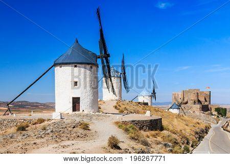 Consuegra Spain. Windmills of Don Quixote in Toledo province.