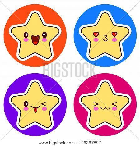 Set of cute Kawaii stars on different circle. Vector illustration