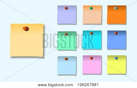 colored set of sticky notes memo. vector illustration eps