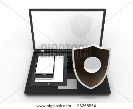information protect concept . 3d rendered illustration