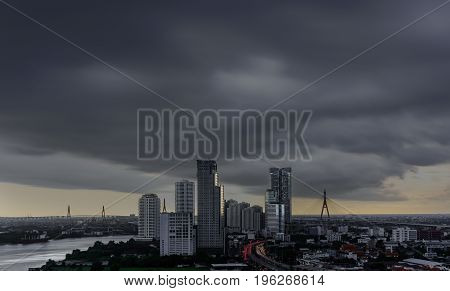 Thundercloud spreading over Bangkok before heavy raining pouring in the evening Thailand