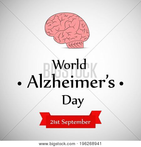 illustration of brain with World Alzheimer's Day 21st September text on the occasion of World Alzheimer's Day