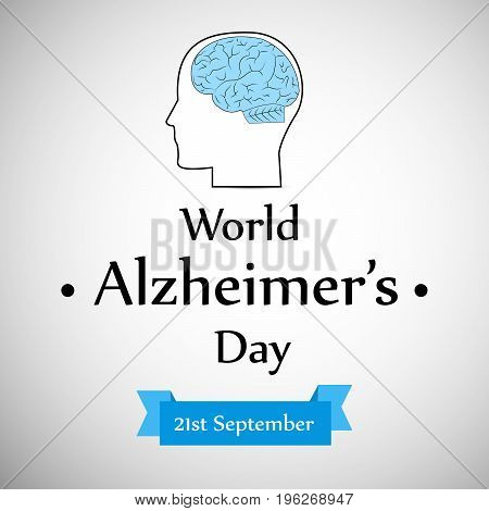 illustration of a face   with World Alzheimer's Day 21st September text on the occasion of World Alzheimer's Day