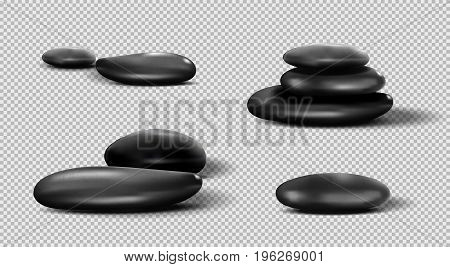 Collection of black SPA stones. Vector pebble set on transparent background.