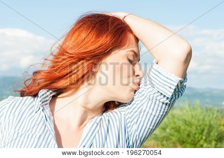Summer Trendy Female Kissing Her Arm