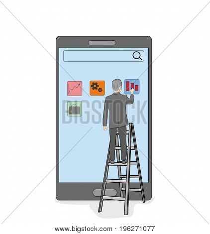 The businessman presses the buttons of the smartphone standing on the stairs. vector illustration.
