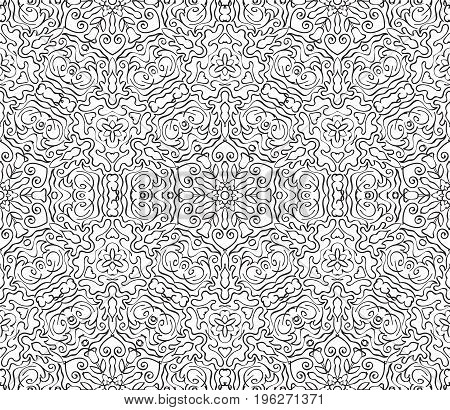 Vintage ornamental lace invitation on the seamless pattern background. Vector illustration for your design.