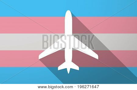 Long Shadow  Trans Gender Flag With A Plane