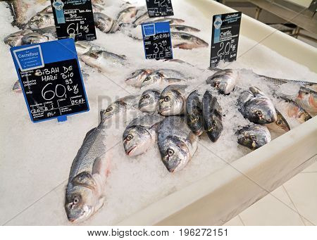 Timisoara Romania - July 20 2017: Frozen fish at the Carrefour hypermarket. Shot taken on July 20th 2017