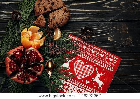 Reindeer Traditional Napkin Gingerbread Cookies Garnet Oranges And Spices On Fir Branches On Rustic