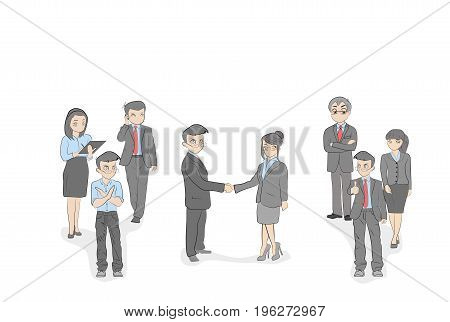 Agreements between businessmen. Teams of businessmen support them. vector illustration.