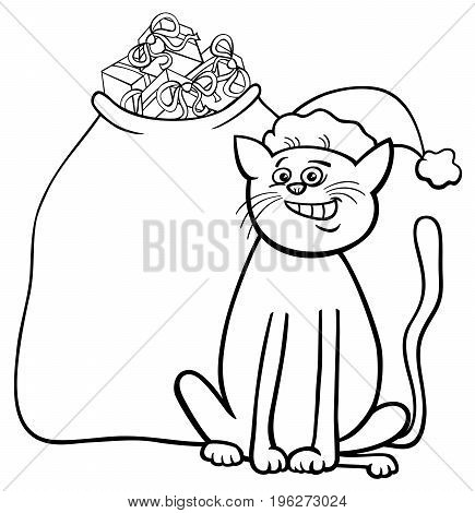 Cat With Christmas Gifts Coloring Book