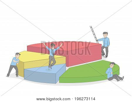 People collecting a chart. Business concept. vector illustration.