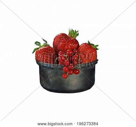 Red currant berries and strawberries in a metallic form on a white background, isolated. A horizontal frame.