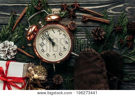 Happy New Year Concept. Christmas Stylish Vintage Clock With Almost Twelve Hour And Presents Ornamen