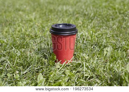 Red paper cup of coffee to takeaway on green grass lawn. Breakfast morning outside the cafe