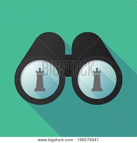 Long Shadow Binoculars With A  Queen   Chess Figure