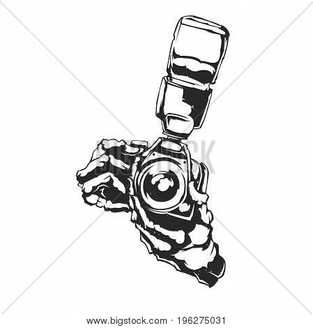 Isolated illustration of two hands holding camera with flash