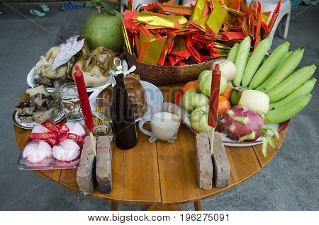 Thai People Prepare Sacrificial Offering Food On Table For Pray In Chinese New Year Day