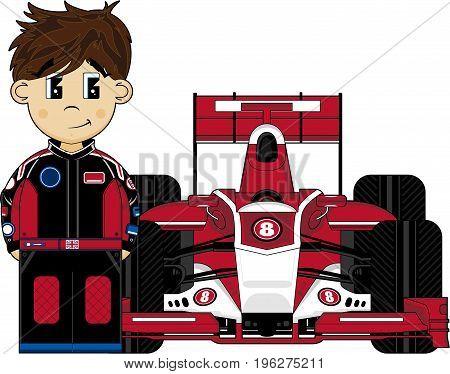 Cute Cartoon Motor Racing Driver and Sports Car