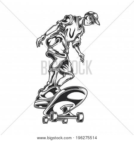 Illustration of a man on skate board