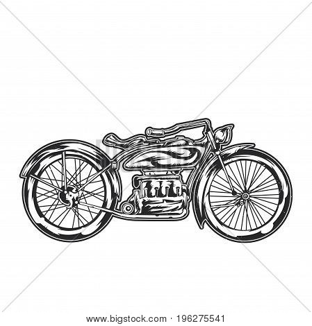 Vector t-shirt illustration of a classic motorcycle