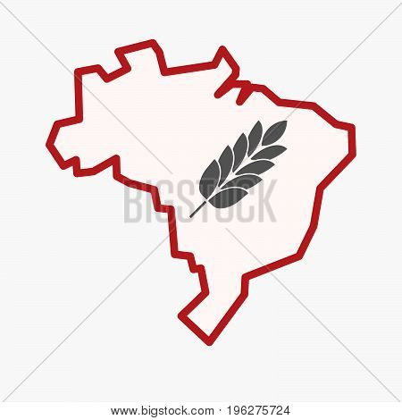 Isolated Brazil Map With  A Wheat Plant Icon