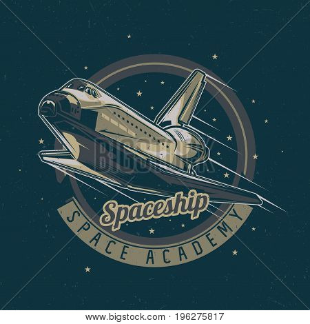 Space theme t-shirt label design with illustration of spaceship