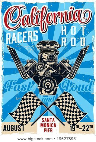 Hot Rod theme vintage poster design with illustration of powerful engine