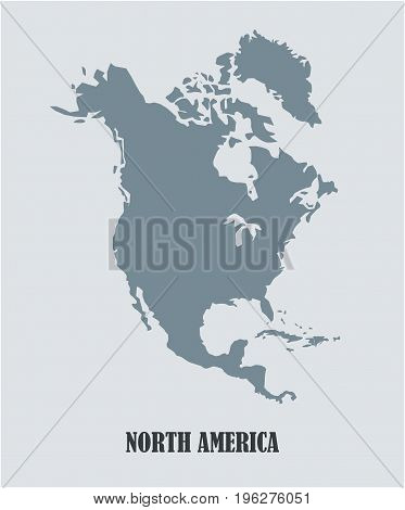 North America vector map , detailed silhouette of the continent