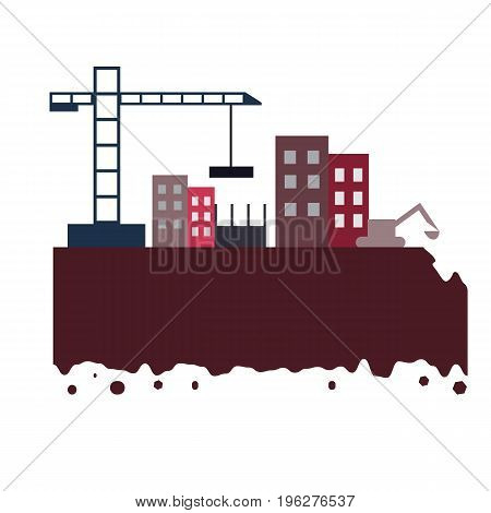 The city build by crane and excovator with high buildings and ground. Constraction and engineering banner color design. Flat vector illustration
