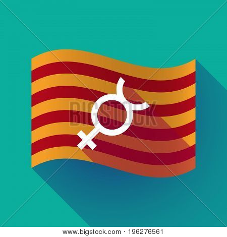 Long Shadow Catalonia Flag With  The Mercury Planet Symbol