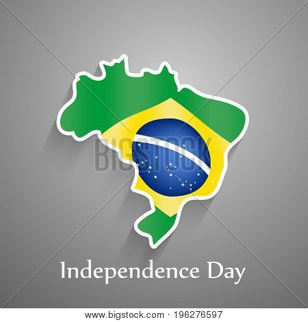 illustration of Brazil map in Brazil flag background with Independence Day text on the occasion of Brazil Independence Day