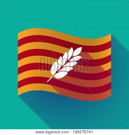 Long Shadow Catalonia Flag With  A Wheat Plant Icon