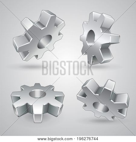 Four metal gears on gray background isolated 3d vector illustration