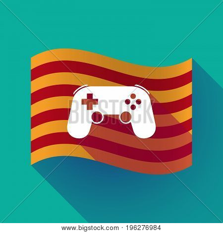 Long Shadow Catalonia Flag With  A Game Pad