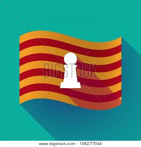Long Shadow Catalonia Flag With A  Pawn Chess Figure