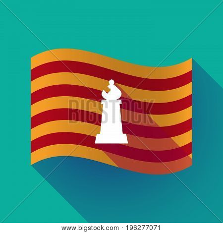 Long Shadow Catalonia Flag With A Bishop    Chess Figure